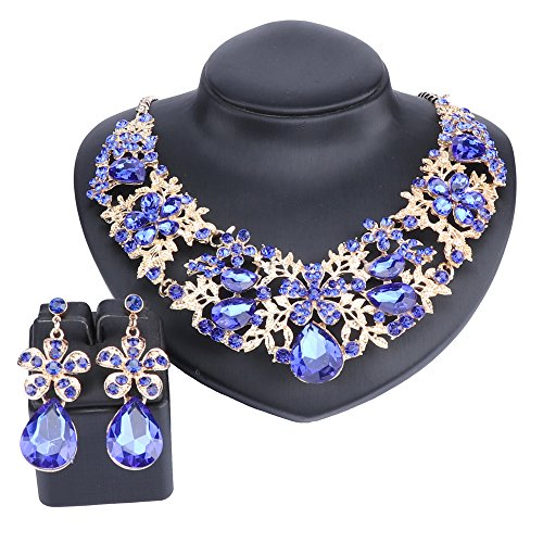 Austrian Crystal Cross - Austrian Crystal Rhinestone Bridal Wedding Necklace Earrings Jewelry Sets for Women (Blue)