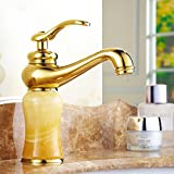 YI YA YA - European Antique Faucet Full Copper hot and Cold Retro Faucet washbasin Jade Gold Faucet Basin Faucet