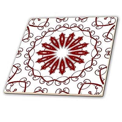 3dRose Red and Black Mandala Plate - Ceramic Tile, 6-inch (ct_42008_2)