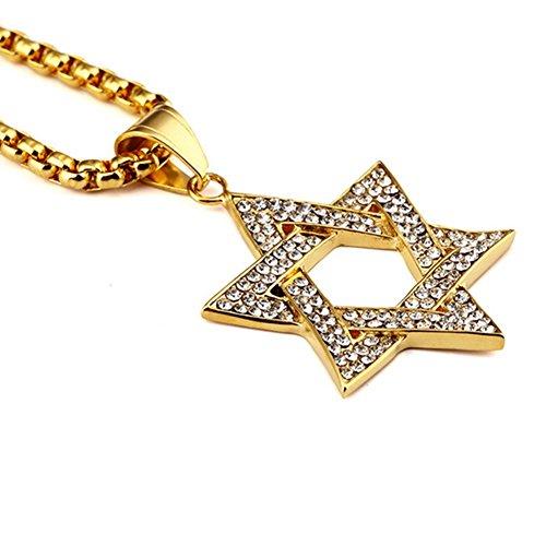 [NYUK Mens Hexagram Judaism Hip Hop Gold/Silver Pendant Chain Necklace-Gold] (Guys Hip Hop Dance Costumes)