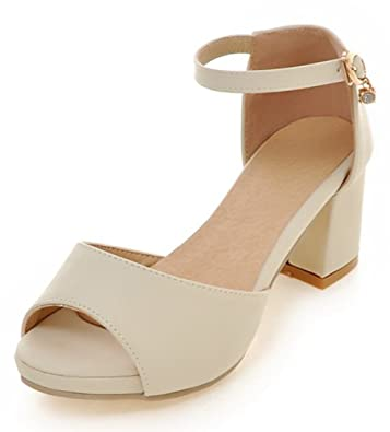 17a8973719d Easemax Women s Elegant Peep Toe Buckled Ankle Strap Medium Block Heel  Platform Sandals Beige 4 B