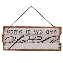 NIKKY HOME Wooden Double Sided Open and Closed Store Signs with Rope, 16 x 1.12 x 11.37 Inches, White