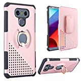#2: TabPow LG G6 Case, 2-Piece Drop Protection Ring Stand Holder Grip Case With Rotating Holster Belt Clip Kickstand Cover For LG G6 2017 -Rose Gold