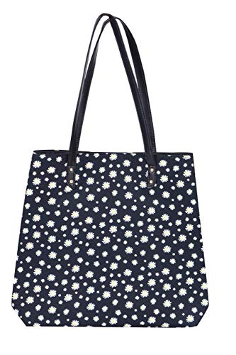 Coated Canvas Tote Bag For Women, Tote Bag with Flowers, Tote Bags With Pocket, Compartments, Valentines day gift