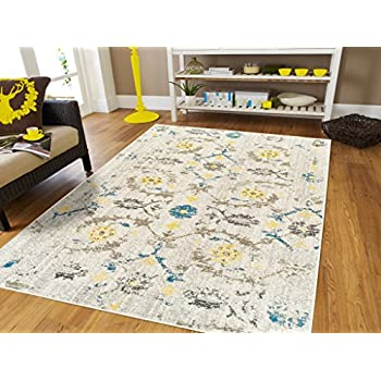 Amazon Com Contemporary Modern Distressed Cream Area Rugs