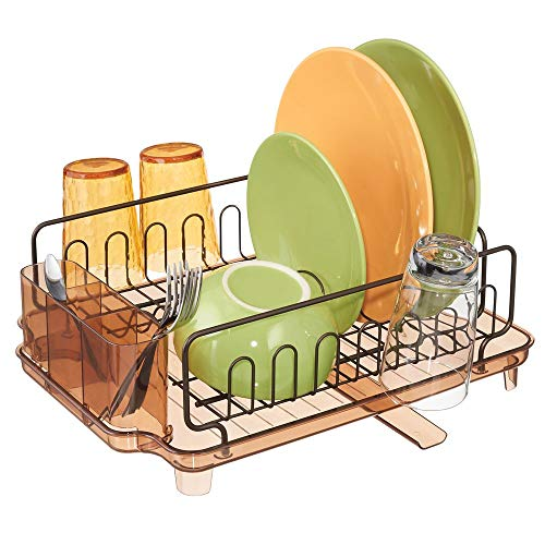 mDesign Large Kitchen Countertop, Sink Dish Drying Rack with Removable Cutlery Tray and Drainboard with Adjustable Swivel Spout - 3 Pieces, Bronze Wire/Sand Brown Cutlery Caddy and Drainboard