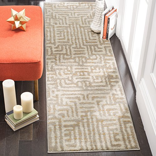 Safavieh Amsterdam Collection AMS106A Modern Abstract Ivory and Mauve Runner (2'3