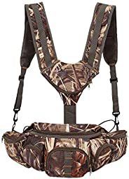 Bobin Hunting Camo Fanny Pack with Harness Waist Pack Pouch with Shoulder Straps for Climbing Hiking Camping R