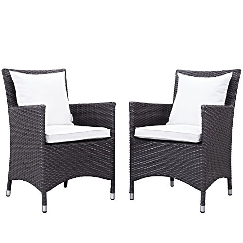 Modway Convene Wicker Rattan Outdoor Patio Dining Armchairs With Cushions in Espresso White – Set of 2 Review