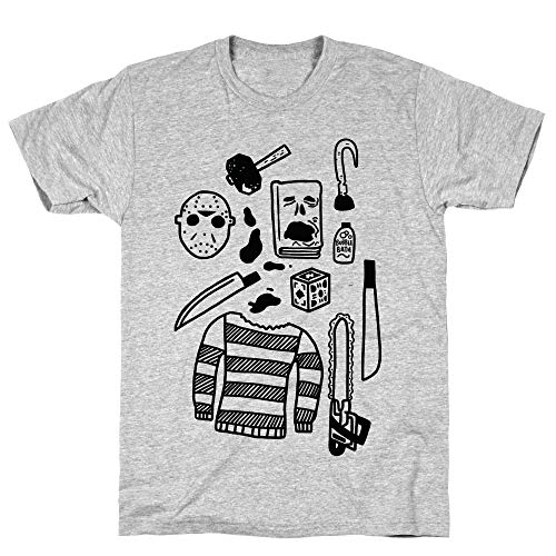LookHUMAN Slasher Slumber Party Kit Small Athletic Gray Men's Cotton Tee -
