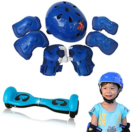 Dreamyth 7pcs Kid Child Protective Gear Kit Sets elf Balancing Bike Roller Knee Elbow Wrist Helmet Pad Adjustable (Blue)