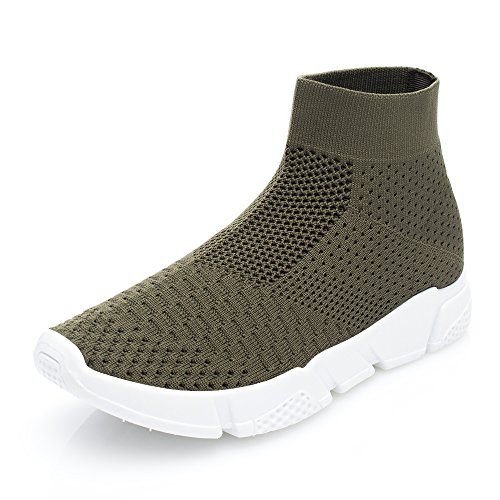 Lightweight Slip and Mesh on Breathable Walking DRKA Shoes Green935 Sneakers Athletic Women wS84Hqn1X