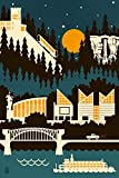 Chattanooga, Tennessee - Retro Skyline (no text) (9x12 Collectible Art Print, Wall Decor Travel Poster)