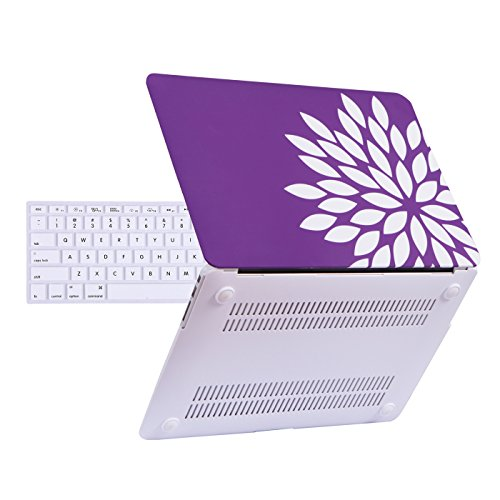 HDE Plastic Hard Shell Case for MacBook Air 13 Inch (Models: A1369/A1466), Purple and White Flower
