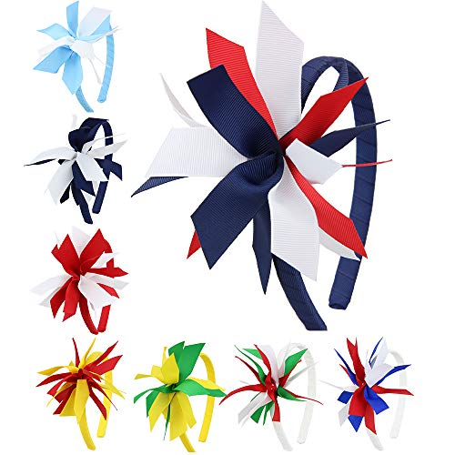 7Rainbows Girls Colorful Cheerleading Bows Headbands for girls.