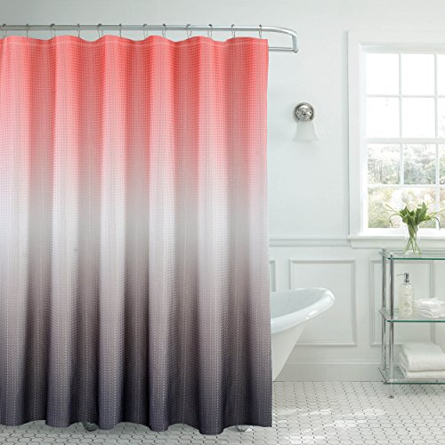 Creative Home Ideas Ombre Textured Shower Curtain with Beaded Rings, - Coral Grey