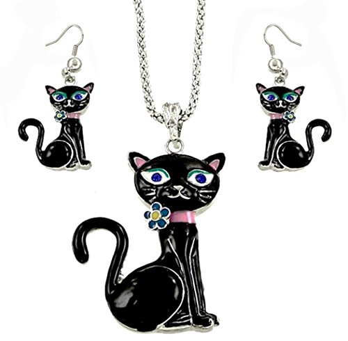 DianaL Boutique Adorable Black Kitty Cat Pendant Necklace and Earrings Set Gift Boxed