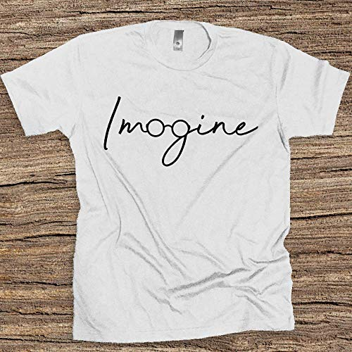 The Beatles Imagine Hand Drawn Logo Unisex T-shirt John Lennon Tee Rock gifts for him and her UK ()