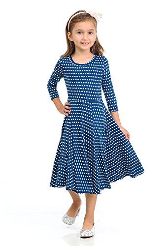 Honey Vanilla Girls' Princess Seam A-Line Dress with Full Skirt Large 9-10 Years Polka Dot Navy (Dot Circle Polka Full)