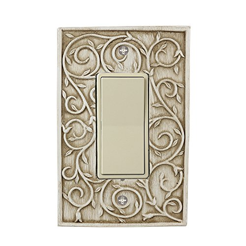 Meriville French Scroll 1 Rocker Wallplate, Single Switch Electrical Cover Plate, Weathered White