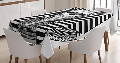 """Ambesonne King Tablecloth, Egyptian Pharaoh Ruler Mummy Skull Skeleton for Egypt Lovers Print, Rectangular Table Cover for Dining Room Kitchen Decor, 60"""" X 90"""", Black White"""