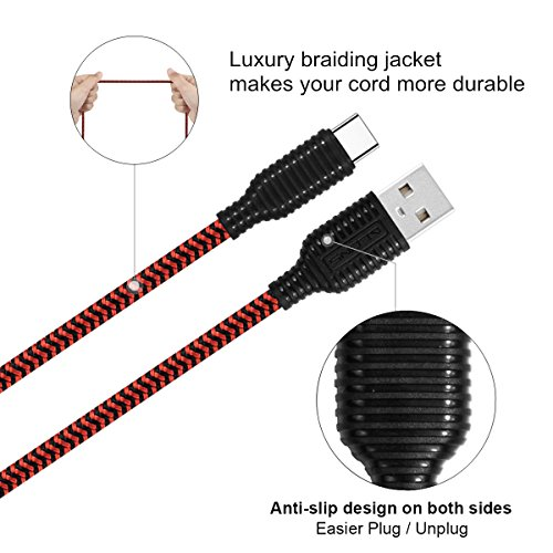 USB Type C Cable, Disveo 4 Packs(3ft/6ft/6ft/10ft) Fast Charger Sync Cord Durable Nylon Braided USB Cable for Samsung Galaxy S8,S9, Note 8, S8 Plus, LG V30 V20 G6, HTC 10Google Pixel (Black and Red) by Disveo (Image #2)