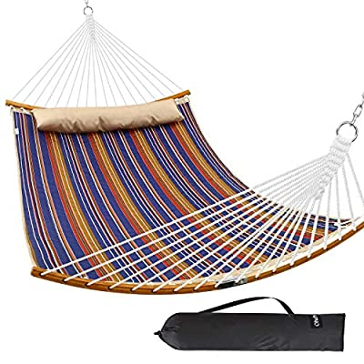 "Ohuhu Double Hammock Quilted Fabric Swing with Detachable Pillow, 2019 All New Curved-Bar Design Strong Bamboo Hammocks with Carrying Bag, 4.6'W x 6.2'L, Brown & Blue Stripe - ✅ Fold and Go: The Ohuhu Portable Bamboo Hammock measures in at 75"" x 55"", is easy to carry. Just fold it up, and hit the road. Thanks to the detachable curved bamboo bars, it'll give you a comfy recumbence without fearing to flop down. ✅ Strong and Sturdy: Share some relaxation with your friends and family. The curved bamboo spreader bars are as mighty as can be, supporting up to 450 pounds ✅ 100% Real Bamboo: Don't settle for less than the best. The Ohuhu Bamboo Hammock is made from real, top-notch bamboo which will outlast years of wear and tear. - patio-furniture, patio, hammocks - 51WGDl%2BJ8UL. SS400  -"
