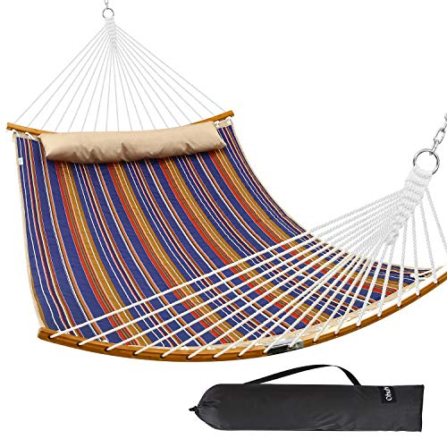Ohuhu Double Hammock Quilted Fabric Swing with Detachable Pillow, 2019 All New Curved-Bar Design Strong Bamboo Hammocks with Carrying Bag, 4.6'W x 6.2'L, Brown & Blue Stripe