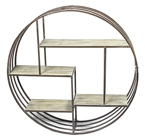 "Sagebrook Home 11050 Metal & Wood Wall Shelf, Brown Metal, 31.5 x 7.25 x 31.5 Inches - Constructed of high Quality metal. This home accent piece will brighten and liven up your room, as well as add a touch of fun and surprise to your home decor. Overall Measurements: 31. 5 x 7. 25 x 31. 5 inches. With our large range of styles, Our decorative accents will give your space that extra special love to enjoy your New home furnishings. Inner measurements: Top shelf: 20. 75x6. 5x6"", upper middle shelf: 15. 25x6. 5x6. 75"", lower middle shelf: 13. 25x6. 5x14. 25"", bottom shelf: 12x6. 5x9"" - wall-shelves, living-room-furniture, living-room - 51WGDwz%2BNUL -"