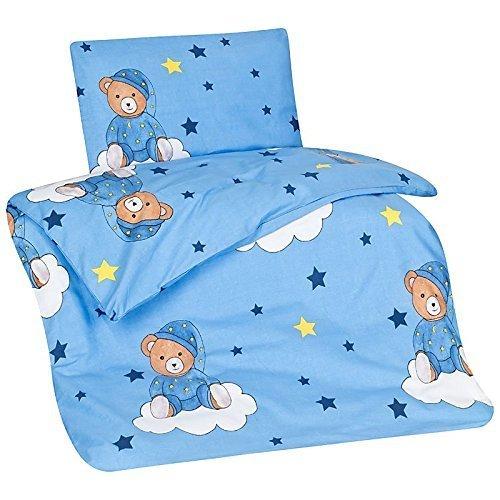 Aminata Kids Kinder-Bettwä sche 100-x-135 cm Teddy-Bä r Bä rchen Baby-Bettwä sche 100-% Baumwolle Renforce hell-blau Junge-n Schlafbä r auf Wolke Sterne Star