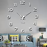 Funwill DIY Wall Clock 3D Mirror Wall Clock Large Mute Wall Stickers Living Room (Silver)