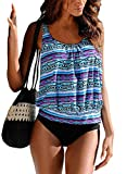 Happy Sailed Women Push up Padded Printed Sporty Tankini Swimsuits Bathing Suit, Medium Purple