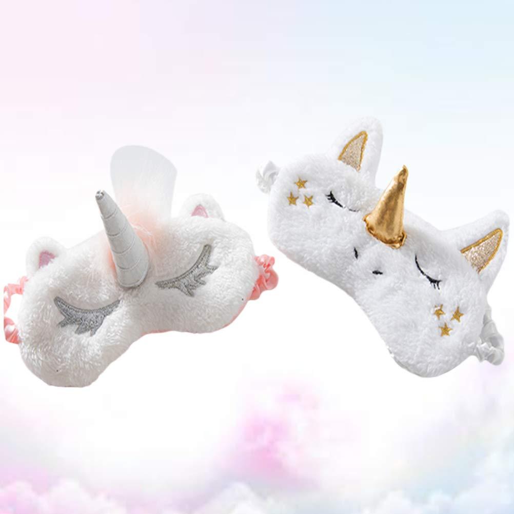 Frcolor - 2 Piezas de máscara de Unicornio para Dormir con Sombra de Ojos para meditación de Siesta (Unicornio Plateado y Unicornio Dorado): Amazon.es: ...
