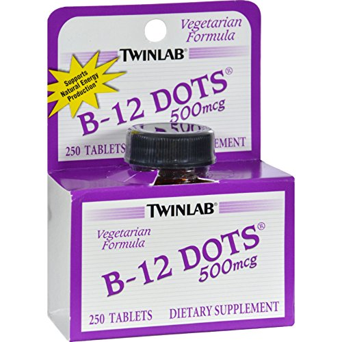 Twinlab B-12 Sublingual Dots - 500 mcg - 250 Tablets (Pack of 2) - Sublingual Dots B-12