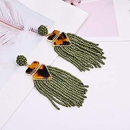Nicole Miller New York Green Beaded Tassel Drop Leopard Print Triangle Dangle Earrings