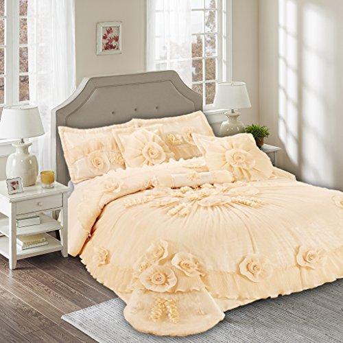- Tache Home Fashion 002-3-K Floral Peach Elegant Ruffled Satin Tulle Warm Victorian Wedding Comforter Bedding Set King Yellow