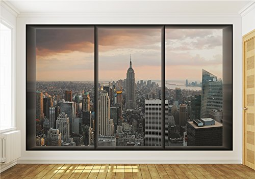 New York City Skyline Window View Wallpaper Mural Amazoncom