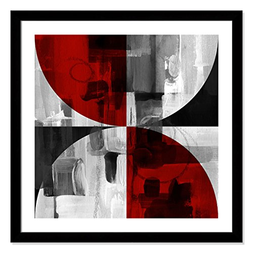 Casa Fine Arts Circle Segments Red I Mid Century Modern Geometric Abstract Wall Art Archival Print, 31″ x 31″, Matte Black Frame