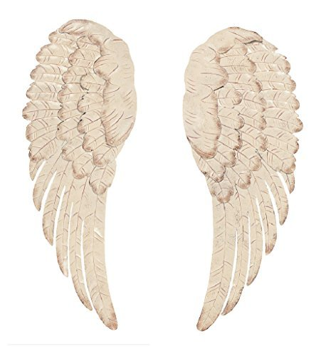 Angel Wall - Off White Metal Angel Wing Wall Decor Set of 2