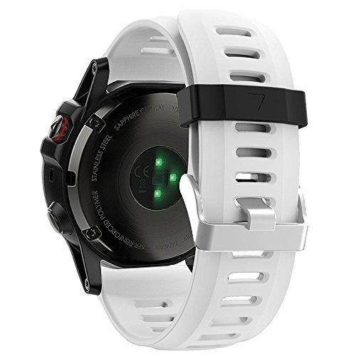 ZSZCXD Band for Garmin Fenix 3 / Fenix 3 HR/Fenix 5X, Soft Silicone Wristband Replacement Watch Band for Garmin Fenix 3 / Fenix 3 HR/Fenix 5X Smart Watch (White)