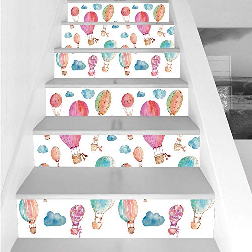 Stair Stickers Wall Stickers,6 PCS Self-adhesive,Watercolor,Hand Painted Style Set of Cute Floating Hot Air Balloons with Blue Clouds,Blue Pink Coral,Stair Riser Decal for Living Room, Hall, Kids Room ()