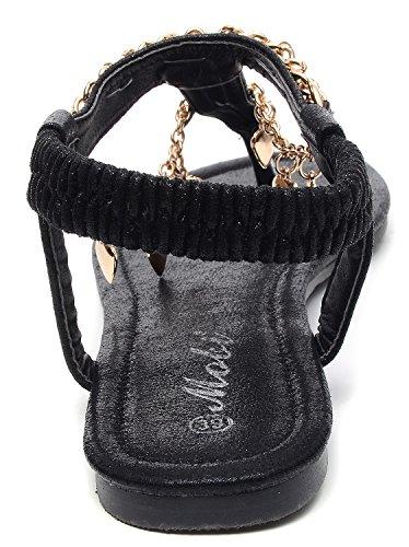 Odema Mujeres Metal Corazón Cadena Gladiador Sling Back Thong Sandals Flat negro