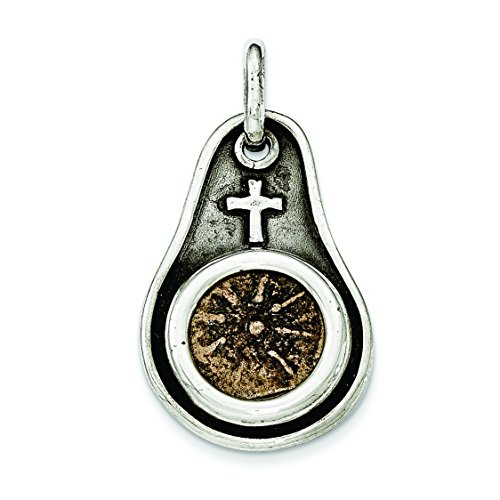 - Sterling Silver Antiqued Widows Mite Coin Pendant