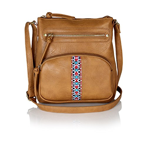 Bohemian Tribal Aztec Vegan Leather Purse Crossbody Sling Bag with Stone (Accented Sling Handbag)