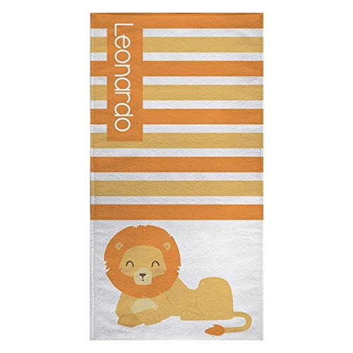 Personalized Lion Microfiber Beach Towel for Kids - Yellow and Orange Lion Striped Beach Towel, Kids Swimming Towel, Custom Beach Towel, Lion Gifts for Girls, Beach Flat Towel 60x30 inches by Personalized Towel2