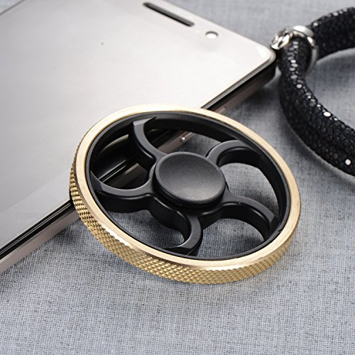 Tegion New Design Hands Fidget Spinner Toy – Delicate Fan Wheel Style-High Speed Bearing with 3 Min+ Spinning Time -Super Smooth durable ABS Frame and Precision Brass Material (Knurling Ring)