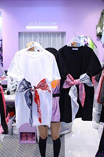 MiGMV?2018 Nouveau Style de Robes Cravates, Noeud Papillon, la Longueur Moyenne des T-Shirt  Manches Courtes, Robe Femmes,M,Black