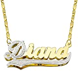 Pyramid Jewelry 14K Two Tone Gold Personalized Double Plate 3D Name Necklace - Style 1 - Customize Any Name
