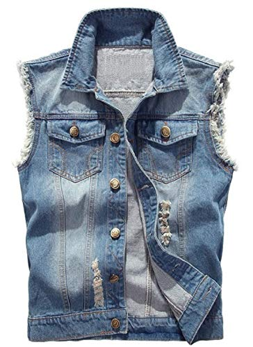 XueYin Men's Casual Wear Ripped Denim Jean Vest and Jacket(Light Blue,L Size)