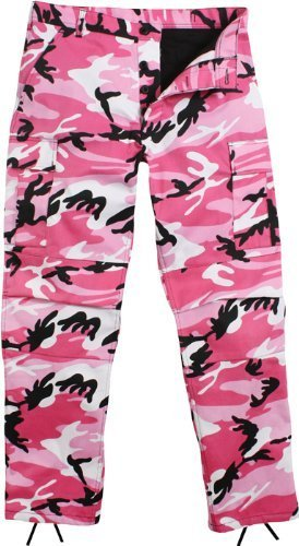 Camouflage Military BDU Pants, Army Cargo Fatigues (Pink Camouflage, Size Medium) (Air Cargo Force)